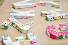 modge podge fabric scraps on cardboard letters :: Little Pin Cushion Studio