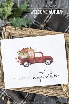 Decorate your home without spending a dollar this fall with this free printable artwork featuring a red pickup truck filled with pumpkins. Free Printable Artwork, Free Printables, Autumn Crafts, Autumn Art, Fall Projects, Diy Projects, Fall Cards, Fall Pumpkins, Happy Fall