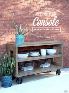 How to build a DIY Restoration Hardware wood and steel console using Simpson Strong-Tie connectors. Free plans and tutorial by Jen Woodhouse.