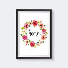 Home print floral print wreath print flowers by printablelovers