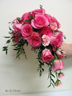 Wedding Flowers - Bridal Bouquet - Cascade design of deep pink roses and pale pink minature roses.