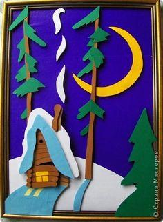 Картина панно рисунок Мастер-класс Аппликация 3D аппликация Зимняя ночь Бумага Картон фото 17