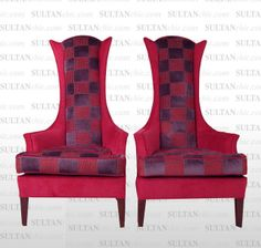 Hot Pink Osborne and Little Greek Key Highback Wing Chairs - Pair