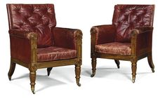 PROPERTY OF A LADY A pair of William IV mahogany red leather upholstered library armchairs circa 1830, in the manner of Gillows