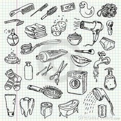 Illustration about Freehand drawing hygiene and cleaning products on a sheet of exercise book. Illustration of draft, notebook, cotton - 36280917 Bullet Journal Banner, Bullet Journal Ideas Pages, Doodle Pages, Doodle Art, Drawing Hair Tutorial, Sketch Note, Exercise Book, Jr Art, Printable Coloring Sheets