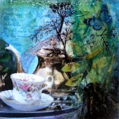""" Tee im Garten"" Karina Fulara, 15x15cm"