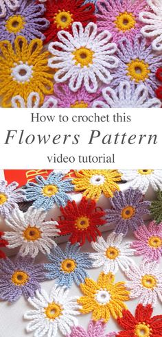 Lovely Crochet Flower Pattern You Need To Learn - Love Crochet Beau Crochet, Crochet Daisy, Crochet Lace Edging, Love Crochet, Beautiful Crochet, Crochet Flowers, Crochet Patterns For Beginners, Knitting Patterns, Free Crochet Flower Patterns