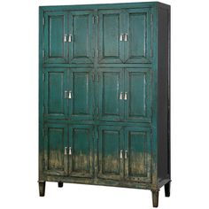 Aged Teal Storage Cabinet found on Polyvore
