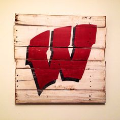 University of Wisconsin Flying W Wall Hanging by PalletsandPaint, $40.00