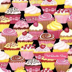 Timeless Treasures Black Packed Cupcakes Yardage SKU# C9215-BLACK - Fat Quarter Shop