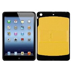 Yellow/Black Solid Gummy Silicone Protector Cover Case kickstand Apple iPad Mini