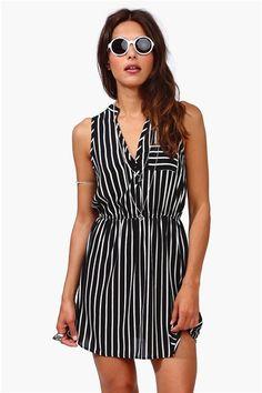Black and White Striped Dress - Black