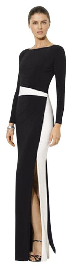 Ralph Lauren Black/White Colorblock Long Sleeve Gown Dress. Free shipping and guaranteed authenticity on Ralph Lauren Black/White Colorblock Long Sleeve Gown DressNEW! NEVER WORN!! Lauren Ralph Lauren's elegant l...