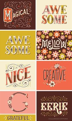 --- Illustrative Lettering by Clairice Gifford on Behance : Designer & Illustrator Represented by Lilla Rogers Studio Inspiration Typographie, Typography Inspiration, Graphic Design Inspiration, Typography Letters, Graphic Design Typography, Lettering Design, Font Alphabet, Logo Dulce, Types Of Lettering