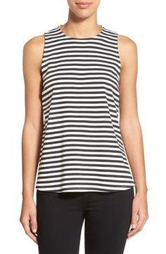 Women's Bobeau Stripe Sleeveless Swing Top Size X-Small Black FTC #3375