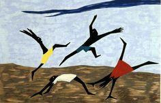 Jacob Lawrence, Play (1999).  Silkscreen. Via Ro Gallery.