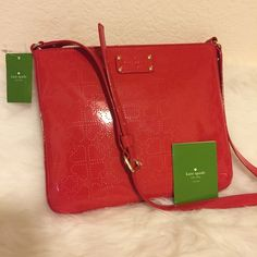 """Kate spade crossbody purse and wallet Brand New Metro Spade Darby Crossbody Shoulder Bag from Kate Spade Red patent leather 11x9.5x1"""" kate spade Bags Crossbody Bags"""