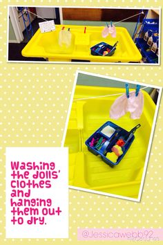 Washing the dolls' clothes and pegging them onto the washing line. EYFS