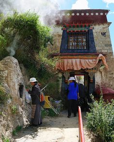 Drak Yerpa caves and temples. Tibet