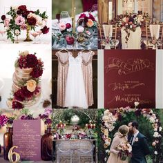 We at Mary's Bridal are in Love with this Aubergine, Marsala and Gold Wedding…