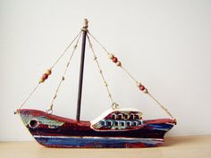 Rustic colorful sailboat from recycled old by AkatosCollectibles, $41.50