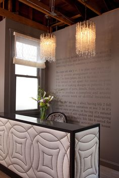 reception desk and lampshade
