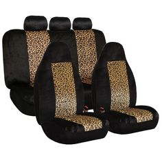 FH Group Classic Leopard Print Full Set Car Seat Covers