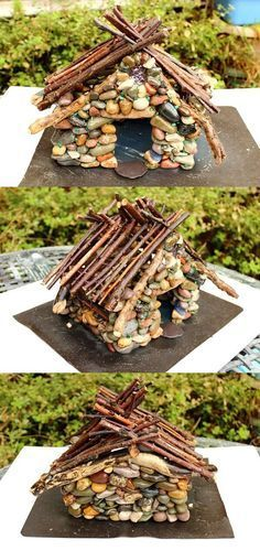 How to make a pebble fairy house - Free DIY tutorial by sewing bee fabrics #fairygardening