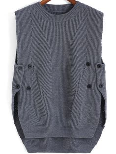 Grey Round Neck Buttons Knit Sweater