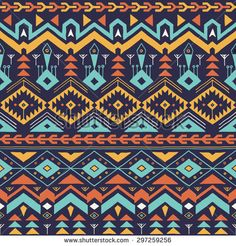 Vector Seamless Tribal Pattern in Hand Drawn Style. Colorful Ethnic Background. Textile Design