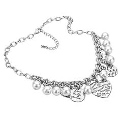 Pearl Heart Love Silver Color Necklace Earring Set