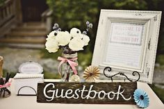 Guest book signs draw attention to the table and ensures guests stop by to leave their mark. Along with a guest book sign, the perfect guest book table . Guest Book Table, Guest Book Sign, Wedding Guest Book, Wedding Table, Guest Books, Trendy Wedding, Diy Wedding, Rustic Wedding, Wedding Day