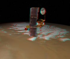 Odyssey Over Mars' South Pole  [artist concept]