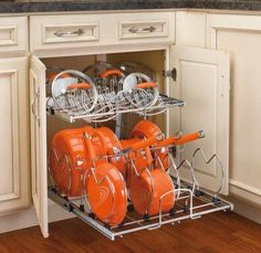 Rev-A-Shelf Two-Tier Cookware Organizer is exactly what you need for holiday cooking. Find all of your pots and pans easily when this is installed in your kitchen cabinet. It also has adjustable dividers which can accommodate different sizes of cookware. Pan Storage, Kitchen Storage, Storage Ideas, Cabinet Storage, Cabinet Space, Organize Kitchen Cupboards, Storage Solutions, Kitchen Cabinets, Kitchen Appliances