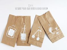 DIY- custom your lunch paper bags by La maison de Loulou Diy Crafts For Gifts, Diy Craft Projects, Easy Crafts, Crafts For Kids, Diy Paper, Paper Crafts, Diy Shops, Brown Paper, Diy Cards