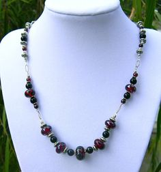 Translucent Red Heliotrope Glass Bead Necklace by OceanIsle, $61.00