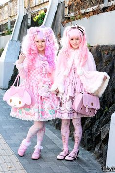 Jan 2014: The sweet lolita on the left is wearing a pink gingham and lace outfit by Angelic Pretty. Accessories include a cute My Melody bow purse, a My Melody plush, lots of pretty hair decorations, a cute rabbit pin, and several kawaii Angelic Pretty rings.  The sweet lolita on the right is wearing fashion from Baby The Stars Shine Bright along with lots of cute hair clips and bows. She's also carrying a pink satchel buckle bag.