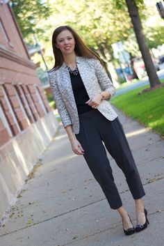 Gray Pleated Ankle Crop Pants with Cream Leopard Blazer