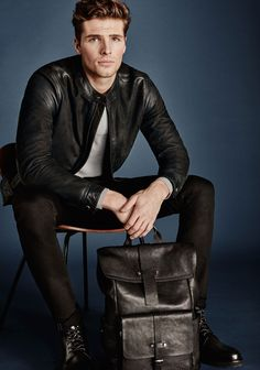 Edward Wilding for Joop! Suit Fashion, Leather Fashion, Mens Fashion, Fashion Menswear, Fasion, Leather Jeans Men, Leather Jacket, Black Leather, Edward Wilding