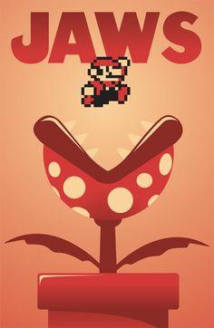Colores monocromáticos, Alineación entre los elementos en ala imagen, proporción, variedad, énfasis en Mario con ayuda del degradado, contraste del tamaño.