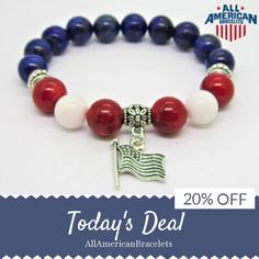 Today Only! 20% OFF this item.  Follow us on Pinterest to be the first to see our exciting Daily Deals. Today's Product: Sale -  American Pride Flag Charm Bracelet Red White Blue Bracelet Patriotic Bracelet Lapis Lazuli Coral White Jade Patriotic Bracelet Ameri Buy now: https://www.etsy.com/listing/502812512?utm_source=Pinterest&utm_medium=Orangetwig_Marketing&utm_campaign=RED%20%20WHITE%20%26%20BLUE%20DAILY%20SALE #etsy #etsyseller #etsyshop #etsylove #etsyfinds #etsygifts #musthave #loveit…