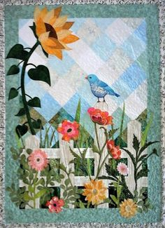 """Songbird in Garden"" /Sunflower/ Blue Bird/ Spring – Handwerk und Basteln Hanging Quilts, Quilted Wall Hangings, Small Quilts, Mini Quilts, Lap Quilts, Sunflower Quilts, Sunflower Pattern, History Of Quilting, Applique Quilt Patterns"