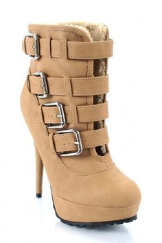 Breathe new life into your wardrobe with these stunning ankle booties. Featured round toe front, a stylish four adjustable buckle straps on vamp, shearling trim, and stitching detail. Stiletto heel, tribute platform, soft faux fur lining interior and finished with soft insole.    ~Material: Leatherette (man-made)  ~Sole: Rubber  US  $27.50