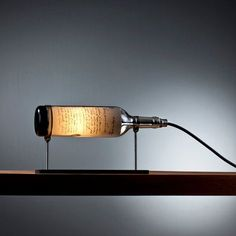 DIY lamp: 76 super cool craft ideas-DIY Lampe: 76 super coole Bastelideen dazu stylish lamp from elegant wine bottle - Lighted Wine Bottles, Bottle Lights, Empty Bottles, Diy Bottle Lamp, Wine Bottle Lamps, Bottle Bottle, Vintage Industrial Lighting, Industrial Lamps, Lamp Design