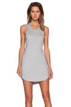 Bobi Light Weight Cashmere Terry Dress in Heather Grey