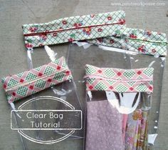 Clear plastic zipper bags - using table covering plastic & fabric scraps + zipper of desired length - very clever & easy