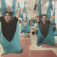 King pigeon pose with hammock in aerial yoga class #HammerAerialYoga Http://www.hammeraerialyoga.com