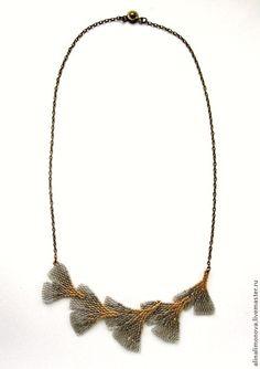 Купить Колье Листья Гинкго - серый, золотой, botanical jewelry, ботаника, гинкго, листья