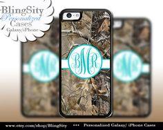 Camo Aqua Monogram iPhone 5C 6 Plus Case iPhone 5s 4 case Ipod Realtree Personalized Country Inspired Girl