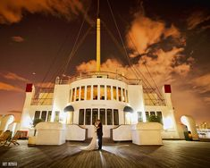 The Queen Mary in Long Beach, California.  Wedding & honeymoon packages available!  Stunning dining and banquet areas on the ship for receptions, etc.   ASPEN CREEK TRAVEL - karen@aspencreektravel.com